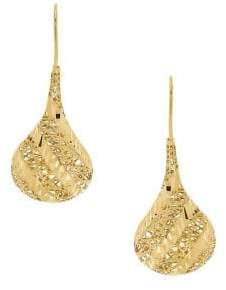 Lord & Taylor 14K Yellow Gold Hollow Oval Drop Earrings