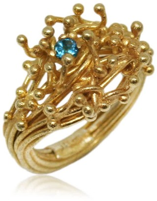 Karolina Bik Jewellery Kulfik Ring Gold With Blue Topaz
