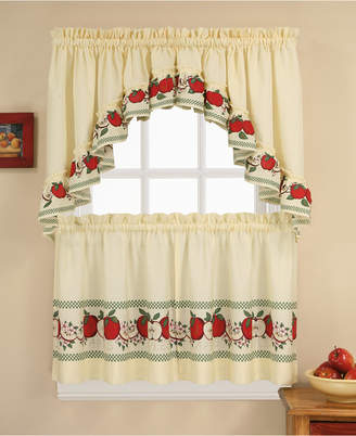 """CHF Red Delicious 36"""" Window Tier & Swag Valance Set"""