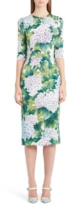 Women's Dolce&gabbana Hydrangea Print Stretch Silk Dress $2,275 thestylecure.com