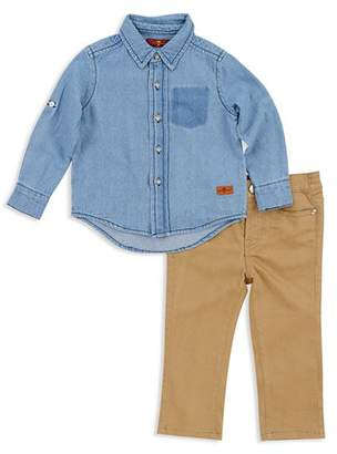 7 For All Mankind Boys' Denim Button-Down & Twill Pants Set - Baby