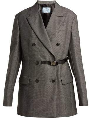 Prada Belt Fastening Damier Wool Blazer - Womens - Grey