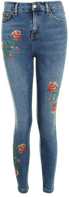 Topshop Topshop Moto embroidered jamie jeans