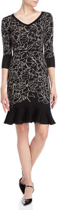 Taylor Floral Flounce Sweater Dress