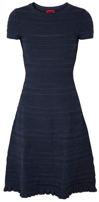 HUGO Sawani Navy Textured-knit Dress