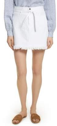 Frame Le High Fray Hem Belted Denim Skirt