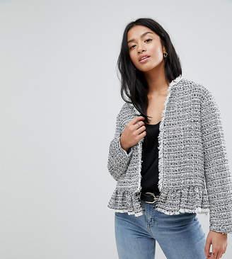 New Look Petite Peplum Hem Boucle Jacket