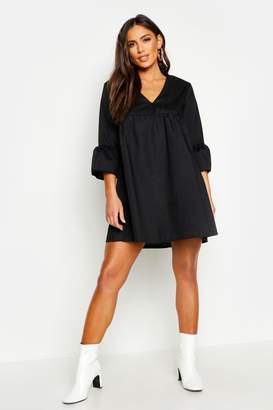 boohoo V Neck Flared Sleeve Smock Dress