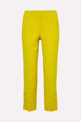 Lela Rose Button-embellished Wool-crepe Straight-leg Pants - Yellow