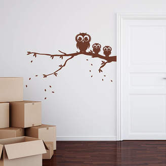 Spin Collective Owls On A Branch Wall Sticker