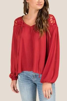 francesca's Addison Lace Shoulder Blouse - Brick