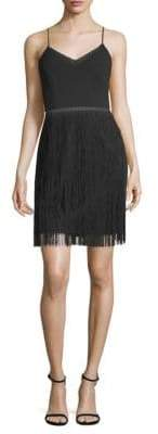 Aidan Mattox Fringe V-Neck Dress