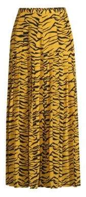 Rixo Rixo Women's Tina Drop Waist Tiger Print Maxi Skirt - Mustard Black - Size Small