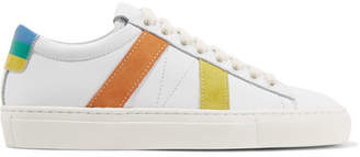 Mira Mikati Striped Suede And Leather Sneakers - White