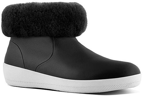 Black Skatebootie Leather & Shearling Ankle Boot - Women