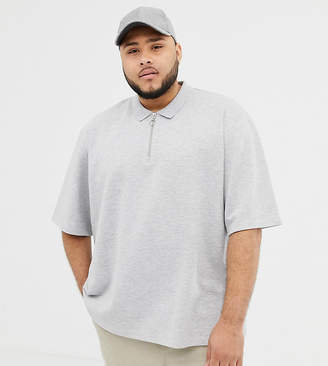 Asos Plus oversized polo in light gray marl pique with zip neck