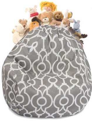 Majestic Home Goods Athens Stuffed Animal Storage Bean Bag Chair Cover w/ Transparent Mesh Base, Multiple Colors