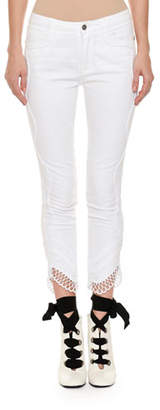Ermanno Scervino Mid-Rise Slim Skinny-Leg Jeans with Crochet Lace