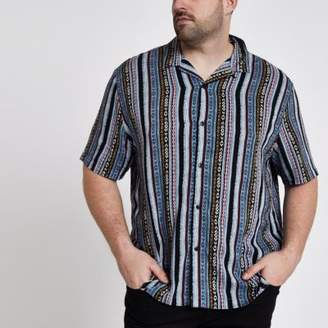 River Island Big and Tall blue aztec print revere shirt