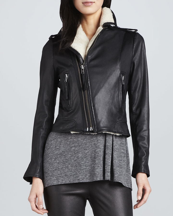 Joie Ailey Leather Jacket with Shearling Lining