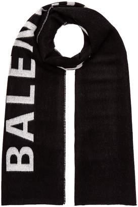 Balenciaga Logo Scarf in Black & White | FWRD