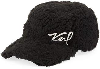 Karl Lagerfeld Faux-Sherpa Baseball Hat