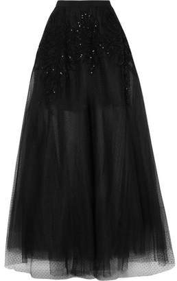 Elie Saab Sequined Corded Lace, Swiss-dot Tulle And Mesh Maxi Skirt - Black