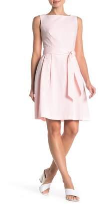 Anne Klein Stripe Boatneck Fit & Flare Dress