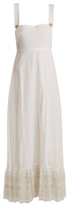 Athena Procopiou - Sunday Morning Pinafore Embroidered Cotton Dress - Womens - Ivory