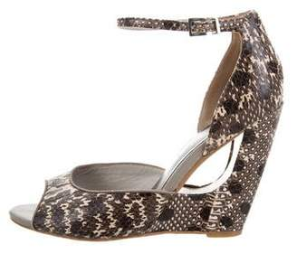 Reiss Embossed Leather Ankle Strap Sandals