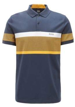 BOSS Hugo Slim-fit polo shirt color-block stripes L Dark Blue