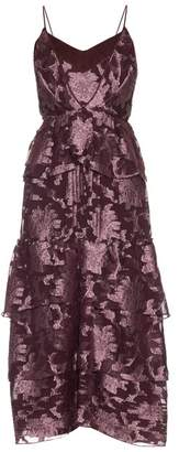 Erdem Justina Posey Fil Coupe Silk Chiffon Gown - Womens - Pink Multi