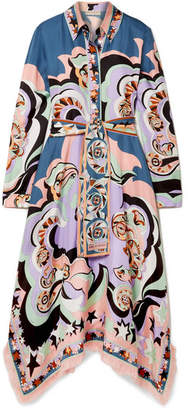 Emilio Pucci Edie Fringed Printed Silk-twill Midi Dress - Lilac