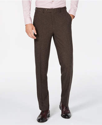 Sean John Men's Slim-Fit Stretch Brown Herringbone Suit Pants