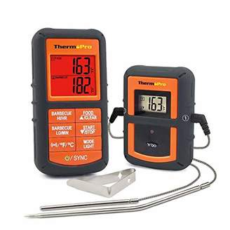 ThermoPro TP-08S Wireless Remote Digital Cooking Meat Thermometer Dual Probe Grilling Smoker BBQ Food Thermometer - Monitors Food from 300 Feet Away