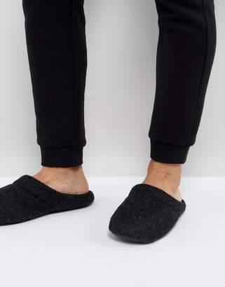 Asos Slip On Slippers In Black Marl