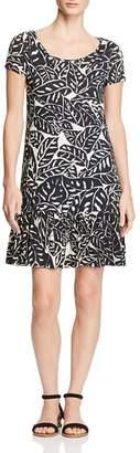 Three Dots Palm Print Ruffle Dress