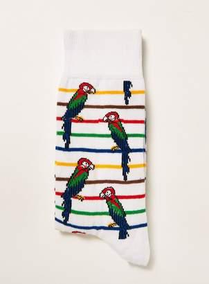 Topman White Parrot Stripe Socks
