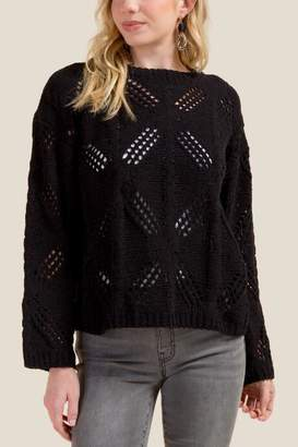 francesca's Hailee Open Cable Chenille Sweater - Black