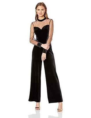2eb15a5e0e4 AVEC LES FILLES Women s Velvet Jumpsuit with Sheer Sleeves