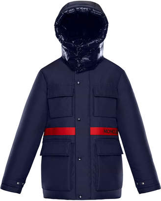 Moncler Perpignan Mixed-Material Hooded Jacket, 4-6