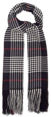 Isabel Marant Checked Cashmere Scarf - Womens - Navy