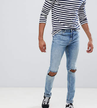 Cheap Monday Tight Ripped Knee Skinny Jeans Shift Blue