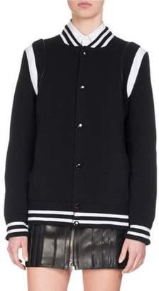 Givenchy Logo-Print Varsity Bomber Jacket, Black $1,495 thestylecure.com