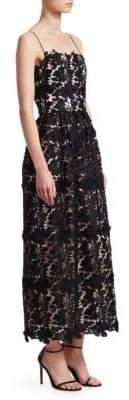 ML Monique Lhuillier Lace Tea-Length Dress