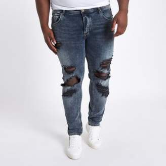 River Island Mens Big and Tall blue Sid ripped skinny jeans