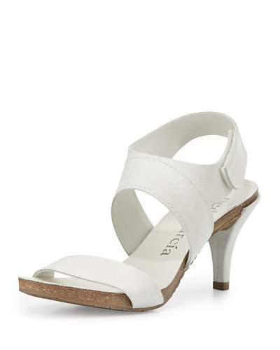 Pedro Garcia Wisal Leather Low-Heel Sandal, Chalk
