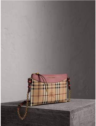 Burberry Haymarket Check and Two-tone Leather Clutch Bag
