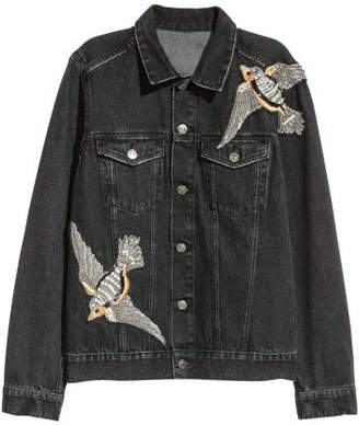 H&M Denim Jacket with Rhinestones - Black