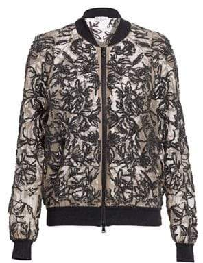 Brunello Cucinelli Sequin Floral Embroidered Silk Bomber Jacket